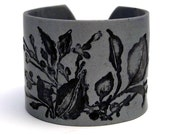 Silver Cuff Bracelet Polymer Clay Black Wide Cuff Leaves Flowers Hand Stamped Art Jewelry