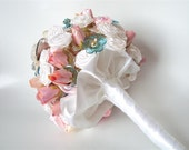 Vintage OOAK Bridal Bouquet Vintage Theme Wedding Flowers Bridal Flowers Roses Pearls Silk Satin - sapti