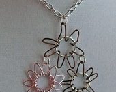 Pink and brown wire wrapped flowers
