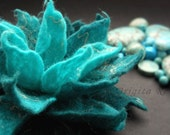 Aqua Turquoise and Linen Felt Flower Brooch/Handmade to Order