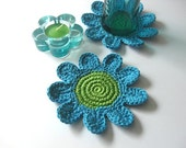 Blue Green Flowers Coasters . Beverage Drink Petal Tea Turquoise Aqua Light Spring Decor Crochet Garden Collection