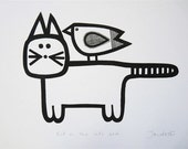 Nursery cat screen print by Jane Foster