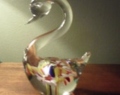 Glass Swan with Flowers