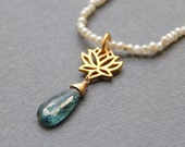 Moss Kyanite, Pearls and Lotus Flower, Gold Necklace, Zen