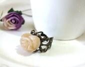 Romantic cream rose antique  ring