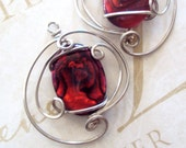 Wirewrapped Earrings Red Queen Paua Shell  in  Sterling Silver