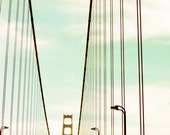 Fine Art photography Progression Golden Gate Bridge modern photo lines stripes teal mint aqua sky street lights photograph - honeytree