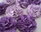 Purple Carnations Paper flowers embellishments for crafts, scrapbooking, cardmaking, ACEOs, ATCs, collage, altered art. PAPER FLOWERS