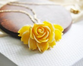 Large Sunshine Yellow Rose Flower Necklace, FREE SHIPPING ETSY, Rosabel Necklace - FullyHooked