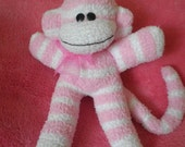 Sock Monkey Soft Toy, Pink & White Stripes - Girl Gift or Baby