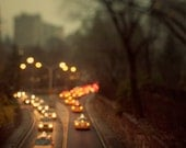 Taxis at Night, New York City Photograph, Central Park NYC in the fog, Dreamy travel photography - Taxicab Confessions
