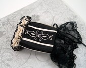 Embroidered Cuff Black and Cream with Lace and Ruffles