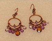 "Vintage Earrings, Copper Chandelier w Crystal Drops in Soft Colors 1.75""L"