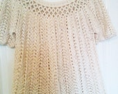 SALE - Half Price - Crocheted Organic Cotton Shell Lacy Top - Woman Size UK 12-14 aka US 10-12 - Ready to Ship