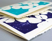 Hand Printed Cards - Dogwood Block Print - Set of Two Blank Notecards - Choice of Colors