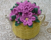 4-6 Cup Crochet Tea Cosy/ Tea Cozy/ Cosy/ Cozy  - Yellow with Pink Flowers (Made to order)