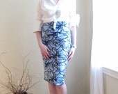 HERE AND THERE...No Zip  Pencil Skirt - Forget-Me-Not - XSmall - Large - Made to Order - KimKatDesign