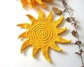 Sun Yellow Coasters bebida Brilho Radiance Tan Sensational luz do sol luz solar Crochet Sol coleção bonito - Conjunto de 4
