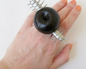 Apple and Worm Adjustable Ring 'Spoiled Rotten'