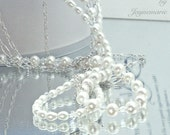 Handmade Pearl, Swarovski Crystal and Sterling Silver Bridal Necklace