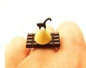 Cute Cat Ring Miniature Food Jewelry Chocolate Bar Cat Chocolate  Ring