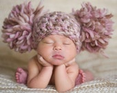 Newborn Baby Girl Hat Chunky Pink Cream Ivory Off White Beige Brown Crochet Knit Infant Double Pom Pom Beanie Photography Prop