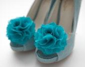 Ruffle Chiffon Flower shoe clips in Turquoise,blue