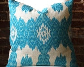 "Bright Blue Ikat Hand Print on Natural Taupe Linen - Pillow Cover - 20""x20"""