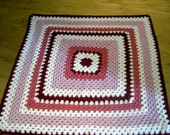 Crochet Blanket - Large Square style blanket with with pinks/red/burgundy/white      223