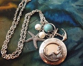 Mermaid Locket Necklace Silver Plated with Pearls and Turquoise - agothshop