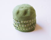 Crochet Green Baby Hat with Ribbon Bows Cotton
