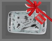 Christmas Theme Personalized Etched Glass 2qt Baking Dish