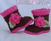 Boots Crochet Pattern boots  for Sugar and Spice Boots -  4 sizes - Newborn to 12 months.