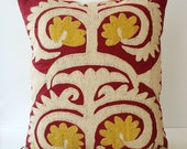 Sukan / Vintage Hand Embroidered Suzani Pillow Cover - 15x17