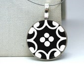 black and white damask necklace on repurposed nickel