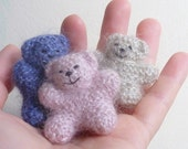Mohair Teddy Bear. Miniature Bears Pink, Black, Lavender. Handknitted in Mohair and Silk.