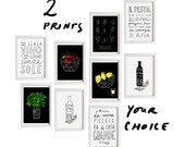 "Your Choice 2 Print Set - 11""x15"" - Food Art - Kitchen Print Set - archival fine art giclée prints"