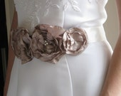 Bridal Sash, Chocolate and Ivory, Belt, Bride, Bridesmaid, Special Occasion, Floral, Swarovski Crystals, Immediately Available