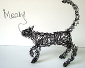 MEOW KITTY Standing Cat - One Of A Kind Wire Sculpture