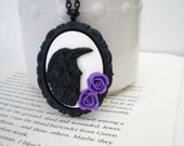 Raven Necklace. Cameo Jewelry. Black and White. Purple Roses.