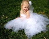White Flower Girl Corset-back Top and Floor Length Tutu with Train- Wedding, Marabou, Photography