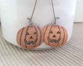 Jack o Lantern Earrings. Pumpkin Earrings. Dangle. Halloween.