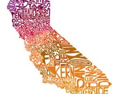 California In Autumn - typography map art print - customizable 8x10 - free shipping