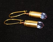 Bullet casing earrings with sparkling lavender crystal teardrops  .32 caliber for women