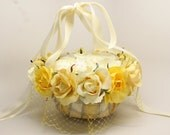 Country Chic White Soft Yellow Flower Girl Basket for weddings, anniversaries etc. - Stylishgivings