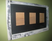 Window frame for 3 5 x 7 photos reclaimed and hand distressed white black accents