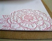 Peony Letterpress Stationery in Fuchsia with Sewn Envelope - single card