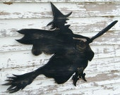 Witch Sign Flying Broom Halloween Decoration Party Decor Large Scale