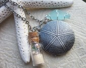 A Day At The Beach - Antique Silver Starfish Locket and Beach Souvenirs - allstrungout1