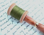 Ink Pen made with a Vintage Wooden Spool of Thread in Olive Green - ThePenPlace